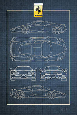 Digital Art - Enzo Ferrari Blueprint With Ferrari 3 D  Badge by Serge Averbukh