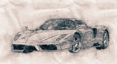 Mixed Media Royalty Free Images - Enzo Ferrari - Spors Car - 2002 - Automotive Art - Car Posters Royalty-Free Image by Studio Grafiikka