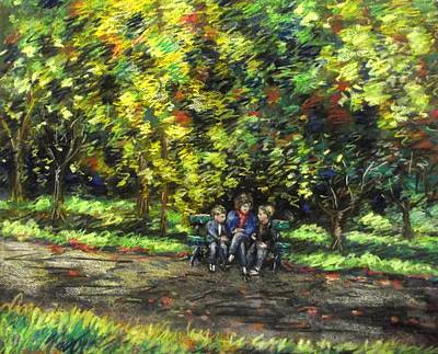 Eoin Miraim And Cian In Botanic Gardens Print by John  Nolan
