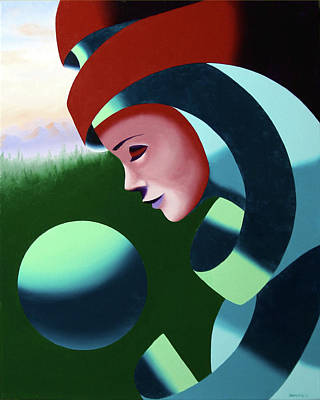 Landscape Painting - Eos - Abstract Mask Oil Painting With Sphere By Northern California Artist Mark Webster  by Mark Webster
