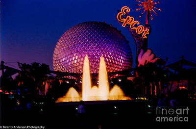 Whats Your Sign - Epcot at night by Tommy Anderson