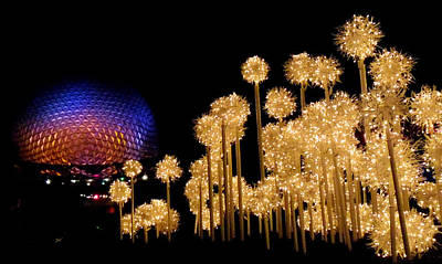 Photograph - Epcot Christmas Night by Nora Martinez