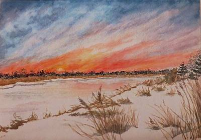 Snowscape Painting - Ephemeral Sunset by Janice Petrella-Walsh