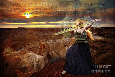 Sword Of Light Photograph - Ephesians Six Ten Through Twelve by Jeanette Brown