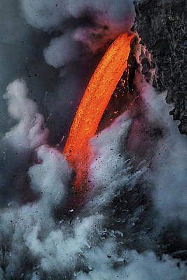 Photograph - Epic Battle Between Lava And The Sea by Roman Kurywczak