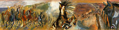 Painting - Epic Broncos by Revere La Noue