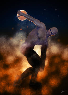 Male Nude Drawing Digital Art - Epic Discobolus Of Africa by Joaquin Abella
