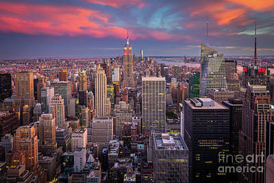 Empire State Photograph - Epic Manhattan Sunset by Inge Johnsson