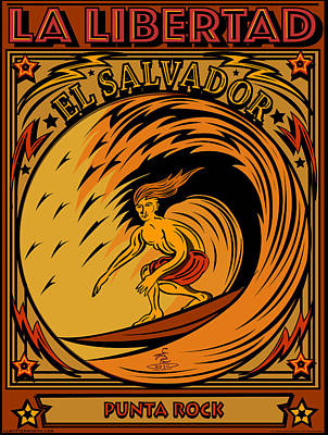 Digital Art - Epic Surf Designs Surf El Salvador by Larry Butterworth