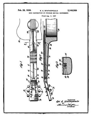 Epiphone Guitars Photograph - Epiphone Guitar Patent 1939 by Bill Cannon