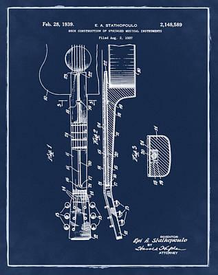 Epiphone Guitar Patent 1939 Blue Art Print