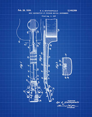 Epiphone Guitars Photograph - Epiphone Guitar Patent 1939 Blue Print by Bill Cannon