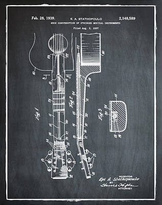 Epiphone Guitars Photograph - Epiphone Guitar Patent 1939 Chalk by Bill Cannon