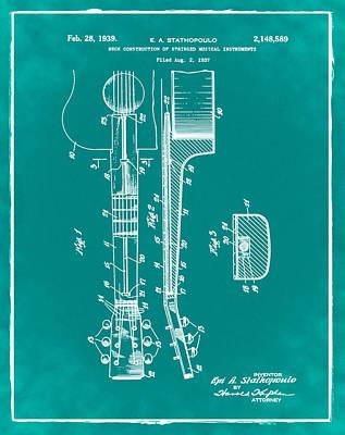 Epiphone Guitar Patent 1939 Green Art Print