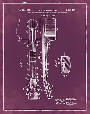 Epiphone Guitar Patent 1939 Red Art Print