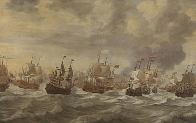 Waving Flag Painting - Episode From The Four Days' Naval Battle Of June 1666 by Willem Van De Velde The Younger