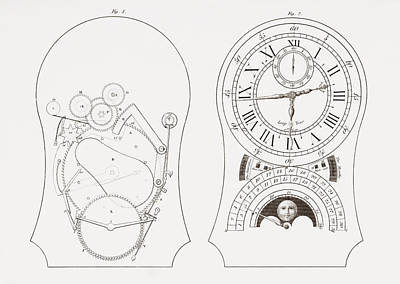 Mechanism Drawing - Equation Clock By Enderlin. From The by Vintage Design Pics