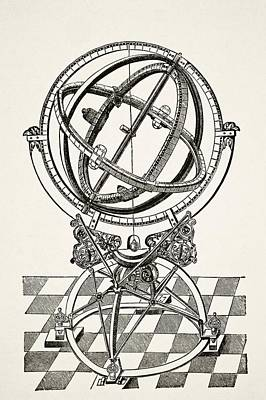 Black Ring Drawing - Equatorial Rings Or Circles After by Vintage Design Pics