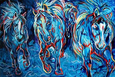 Equine Abstract Blue Four By M Baldwin Art Print by Marcia Baldwin