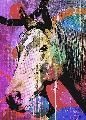 Digital Art - Equine Gaze by Maria Arango