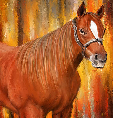 Sports Paintings - Equine Prestige - Horse Paintings by Lourry Legarde