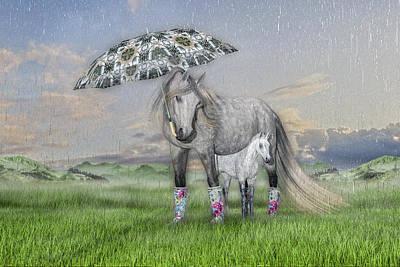 Animals Digital Art - Equine Sleepy Spring Showers by Betsy Knapp
