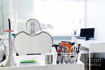Indoor Photograph - Equipment And Dental Instruments In Dentist's Office. Interior by Michal Bednarek