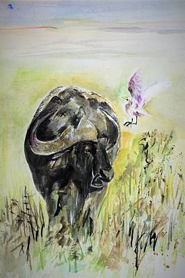 Painting - Equipped With Horns by Khalid Saeed