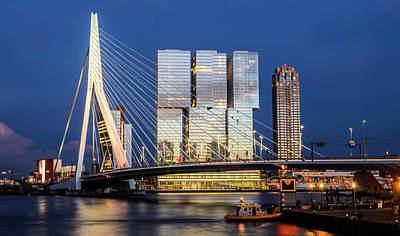 Photograph - Eramus Bridge In Rotterdam, Netherlands  by Alexandre Rotenberg
