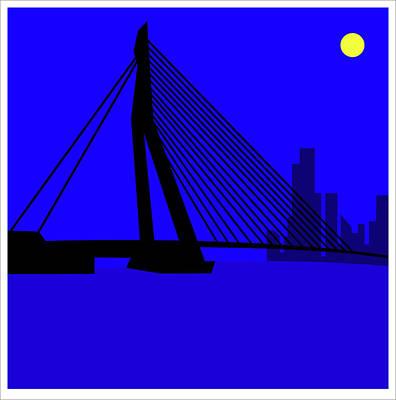 Digital Art - Erasmus Bridge Rotterdam by Asbjorn Lonvig