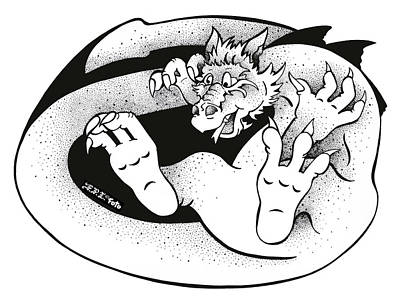 Drawing - Real Fake News Dragongate by Dawn Sperry
