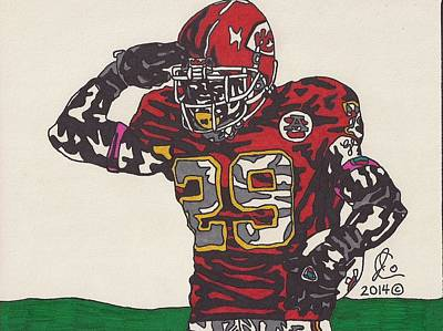 Football Safety Drawing - Eric Berry  by Jeremiah Colley
