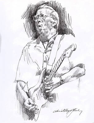 Musicians Drawings - Eric Clapton Blue by David Lloyd Glover
