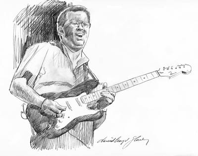 Musicians Drawings - Eric Clapton Jam by David Lloyd Glover