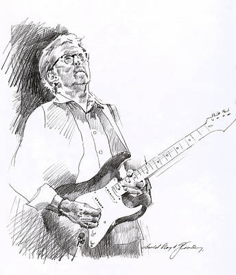 Musicians Drawings Rights Managed Images - Eric Clapton Joy Royalty-Free Image by David Lloyd Glover