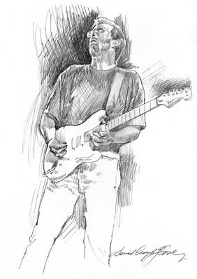 Musicians Drawings - Eric Clapton Strat by David Lloyd Glover