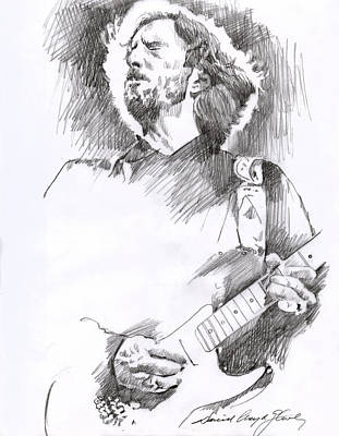 Musicians Drawings - Eric Clapton Sustains by David Lloyd Glover