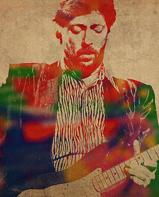 Eric Clapton Wall Art - Mixed Media - Eric Clapton Watercolor Portrait by Design Turnpike