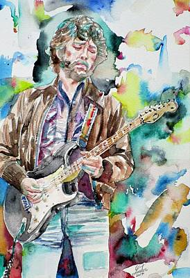 Painting - Eric Clapton - Watercolor Portrait.2 by Fabrizio Cassetta