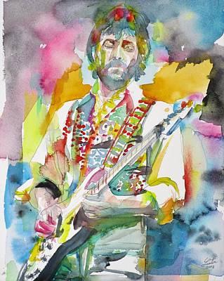 Painting - Eric Clapton - Watercolor Portrait.3 by Fabrizio Cassetta