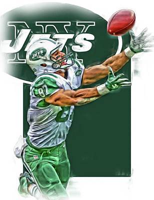 Jet Mixed Media - Eric Decker New York Jets Oil Art by Joe Hamilton