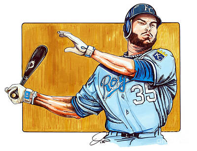 Baseball Art Drawing - Eric Hosmer Of The Kansas City Royals by Dave Olsen