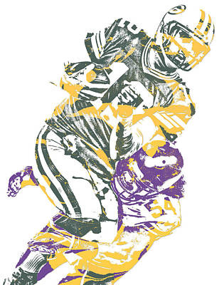 Mixed Media - Eric Kendricks Minnesota Vikings Pixel Art 1 by Joe Hamilton