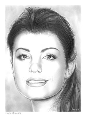 Drama Drawing - Erica Durance by Greg Joens