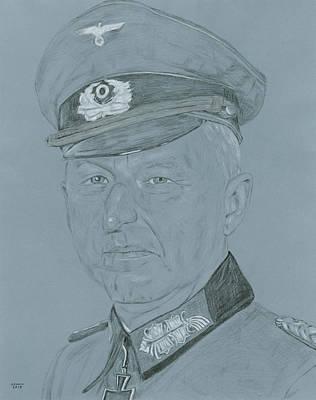 Ww Ii Drawing - Erich Von Manstein by Dennis Larson