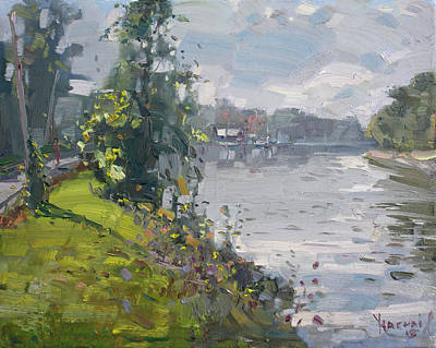 River Boat Painting - Erie Canal by Ylli Haruni