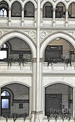 Photograph - Erie Community College Buffalos Old Post Office 1 Sketch Effect by Rose Santuci-Sofranko