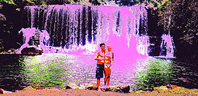 Digital Art - Erika Nd Joe At The Waterfall by Erika Swartzkopf