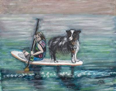 Painting - Erin And Oakie On The Paddle Board by Lucille  Valentino