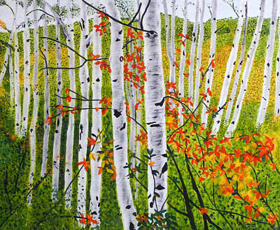 Painting - Erin's Birch Trees by Vivian Stearns-Kohler